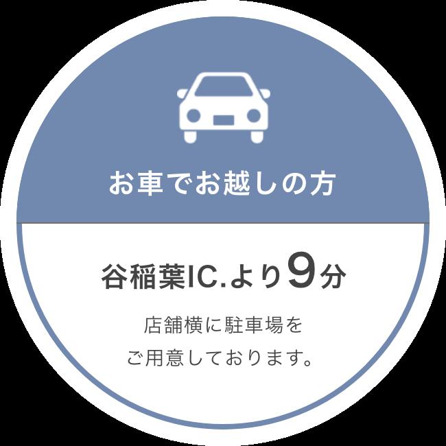 お車でお越しの方:谷稲葉IC.より9分/店舗横に駐車場をご用意しております。