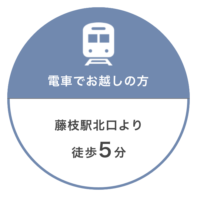 電車でお越しの方:藤枝駅北口より徒歩5分